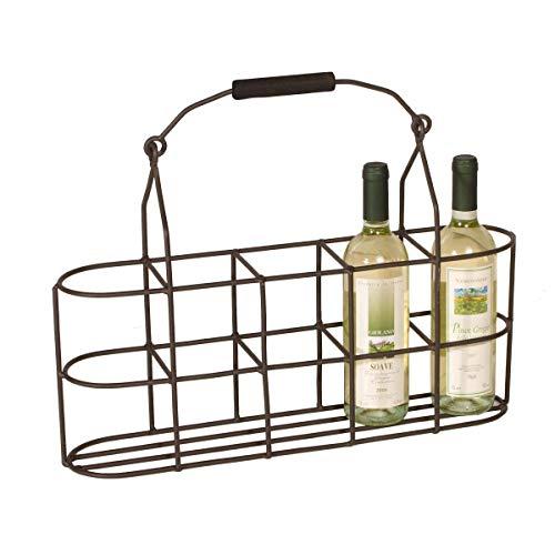 Varia Living Flaschenträger aus Metall für 5 Flaschen mit Griff | platzsparende Alternative zu gängigen Flaschenhaltern für 6 Flaschen durch schmales Design | ideal als Flaschenkorb für kleine Küchen
