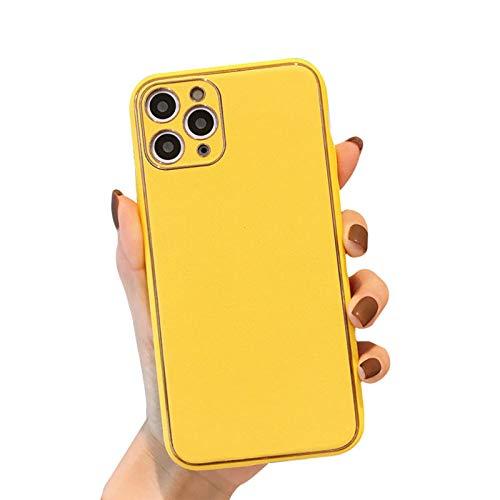 HHZY Funda Compatible con iPhone 12 Pro MAX Carcasa De Cuero Premium con Protector De Lente De Cámara Suave TPU Silicona Anti Choque Bumper Ultra Fina Negocios Back Cover,Amarillo,X