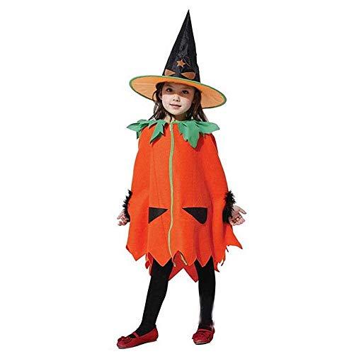 KLJJQAQ Halloween Kinderkostuums Hoeden Kinderen Maskerade Prestaties Kostuums Pompoen Jurk Mantel