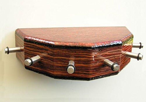 Porte-clés-cONSOLE, avec 6 crochets en acier, edelholzfurn. palissandre alu/rougeâtre