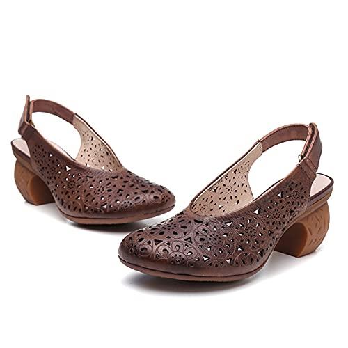 JXILY Zapatos De Mujer, Sandalias De Cuero, Velcro Tallado Tacones, Estilo Étnico Retro, Gran Tamaño, Primavera Y Verano Antideslizantes,Marrón,35