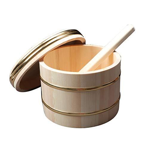 AIZYR Vasca di Miscelazione per Riso per Sushi Hangiri Sushi Oke Ciotola di Riso per Sushi in Legno con Coperchio Strumento Accessorio per La Creazione di Sushi,31cm