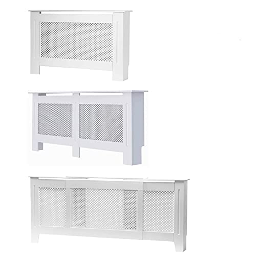 HYGRAD BUILT TO SURVIVE Free Standing Wooden MDF Central Radiator Heater Cover Grill Cabinet Shelf In White & Grey (White, Medium)