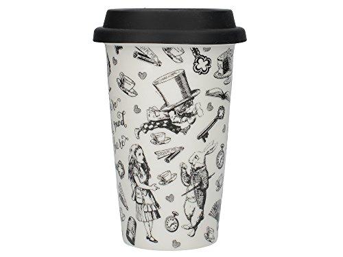 V&A - Taza de cerámica con diseño de Alicia en el País de las Maravillas, color blanco y negro