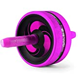 TWDYC Ab Roller Wheel,Coohole Double Wheel Abdominal Exercise Workout Equipment Sport Fitness Training with Foam Hand Grips for Core Workout,Home Gym for Both Men Women (Color : Pink)