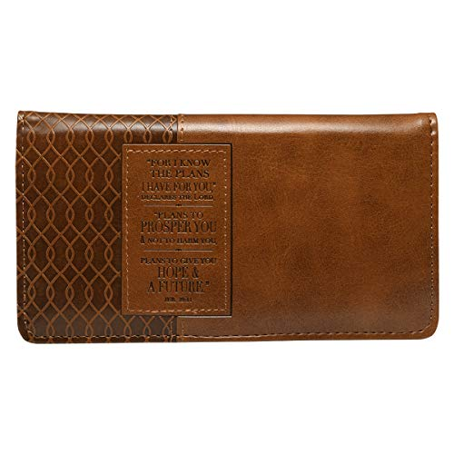 Christian Art Gifts Jeremiah 29 11 Two-tone Checkbook Cover ,Brown ,One...