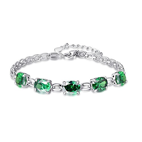 BONLAVIE Damen - 925 Sterlingsilber Sterling-Silber 925 Oval Green Smaragd
