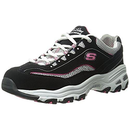 Skechers Sport Women's D'Lites Memory Foam Lace-up Sneaker,Black/Pink,7.5 M US