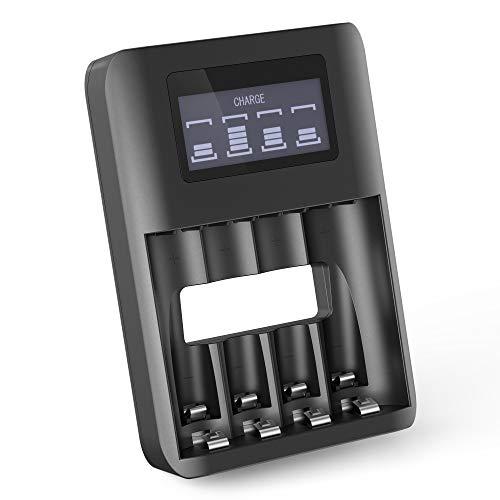 CELLONIC® USB Batterieladegerät AAA AA Schnellladegerät 4 Batterien 4-Fach Ladegerät für Batterien AA AAA Batterieladestation Einzelschachtladung Akku Batterie Ladegerät Batterieauflader LR03 LR6