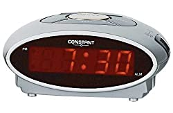 Digital display. Snooze function. Batteries required 1 x 9V (not included). EAN: 2552460. This simple alarm clock has an attractive silver design, which looks great on the bed side table