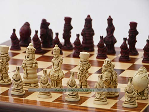 Berkeley Alice in Wonderland Ornamental Chess Set (Cream and Red, Board Not Included)
