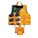 Gogokids Chaleco de Natación para Niños Chaqueta Flotante - Traje de Flotabilidad Traje de Baño Comienza a Nadar Traje de baño para Niños y Niñas,Naranja M