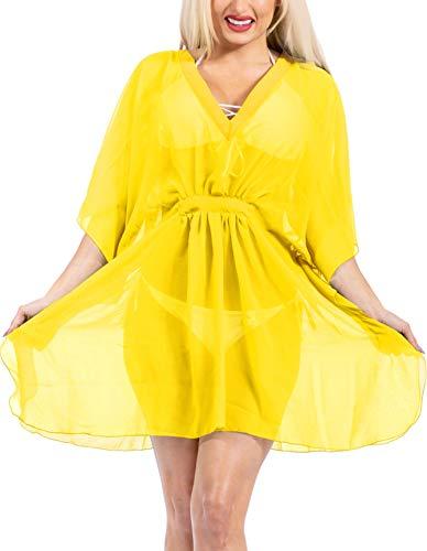 LA LEELA encubrimientos Kimono Lisos para Las Mujeres del Traje de baño Amarillo_Y409 ES TAMAÑO: 42 (L) - 44 (XL)