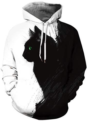 EUDOLAH Damen Pullover 3D Druck Pulli mit Tasche Digitaldruck Pulli mit Aufdruck Galaxy Tier Langarm L-XL, 0-Schwarze Katze