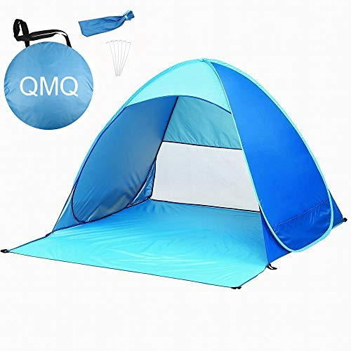 QMQ Pop up Beach Tent Outdoor Automatic Pop up Instant Portable Cabana Beach Tent 2-3 Person Fishing Anti UV Beach Tent Beach Shelter 145X165X110CM Blue