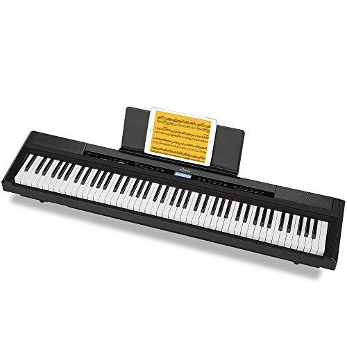 Donner Piano Digital Eléctrico con Teclado de 88 Teclas Full Contrapesadas de Tamaño Completo, Piano Portátil para Principiantes con Altavoces Incorporadosl y Pedal, Real Piano Touch, DEP-20