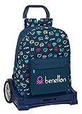 safta Mochila 754 Espalda Ergonómica con Carro Evolution de Benetton Dot Com, 320x140x430mm, azul marino/multicolor