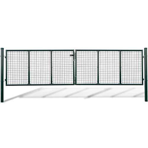vidaXL Acero Verja Mallada Puerta Barrera Exterior Cercas para Jardín, 415 x 125 cm