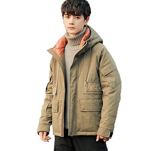 qazxsw Herren Kapuzen Stehkragen Design Trendy und Handsome Outing Jacket Herren Tooling Kurze Jacke Dicke Warme Jacke