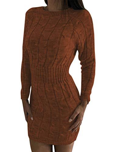 Minetom Herbst Winter Damen Pullover Sweater Strickkleid Warm Sexy Bodycon Langarm Strickpullover Lang Rundhals Tunika Kleid Braun 38