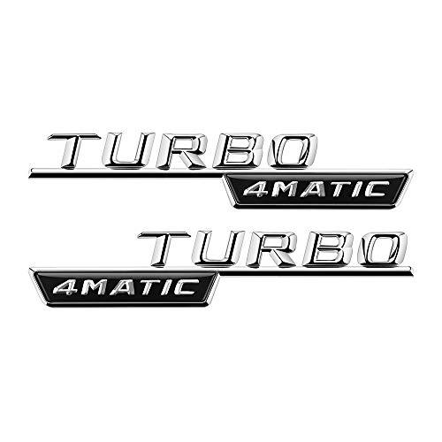 BAOBUM Emblem Logo Alloy Turbo 4matic Emblem-Aufkleber Kompatibel mit Mercedes Benz W212 W202 W205 A C e GLK SL Klasse AMG Alphabet Seite Fender Aufkleber Aufkleber - NEU