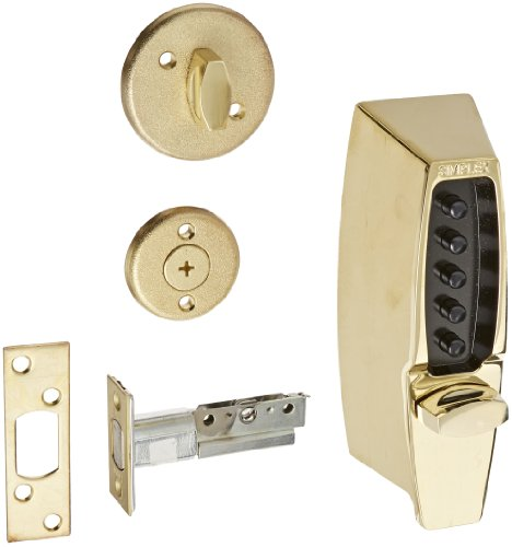 Simplex 710803 Kaba 7100 Series Metal Mechanical Pushbutton Auxiliary Lock with Thumbturn, 25mm Tubular Deadbolt, Flat Front Face Plate, 60mm Backset, Bright Brass Finish