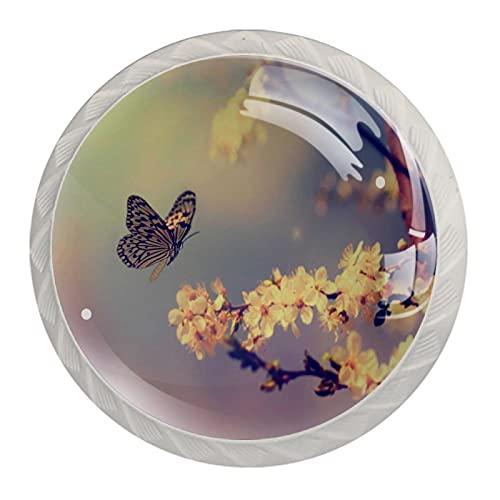 Manopola per cassetto Maniglione 4 pezzi Il cassetto dell'armadio in cristallo tira le manopole dell'armadio,Farfalla vintage e fiore di ciliegio in primavera