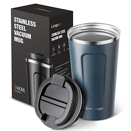LUNGEAR Lungogo Tazza Termica da Viaggio per caffè 480ml Doppia Parete Tazza Termos in Acciaio Inossidabile Tazza da caffè Riutilizzabile - Blu