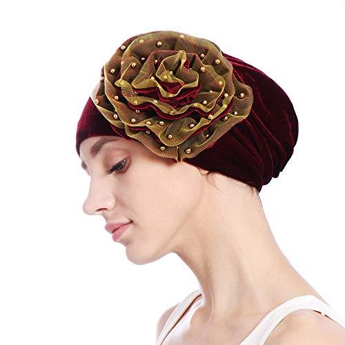 YWLINK Damen Samt Moslemischer Schal Turban RüSch Krebs Chemo MüTze Indien Hut Wrap Kappe (Weinrot)