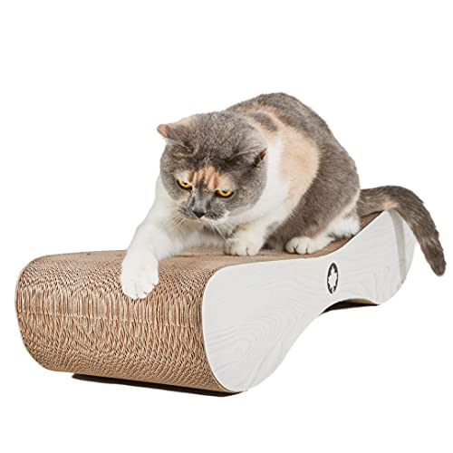 CanadianCat Company ® | XXL Kratzpappe Lounge | 76 x 24 x 15 cm | Kratzmöbel, Kratzbrett | Katzen Pappe +Katzenminze | weißgraue Holzoptik