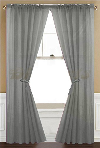 Awad Home Fashion 2 Panels Solid Gray (Grey) Sheer Voile Window Curtain Treatment Drapes 55
