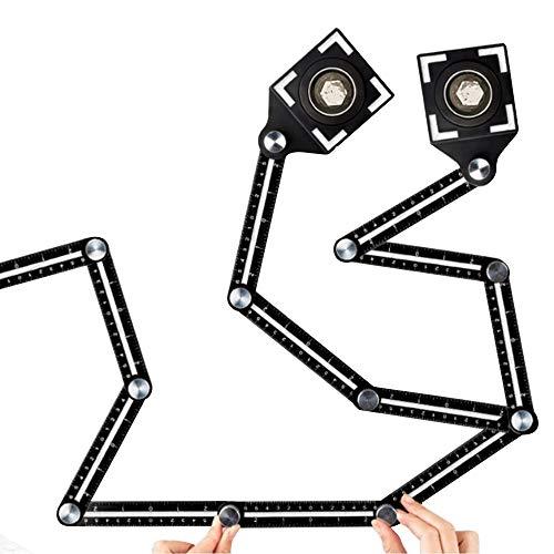 Fikujap Angleizer Herramienta Plantilla de Regla 12 Lados de la Regla del Multi-ángulo, Plantilla Angular de aleación de Aluminio, Multi Angle medir Arquitecto Azulejos carpintería yesero
