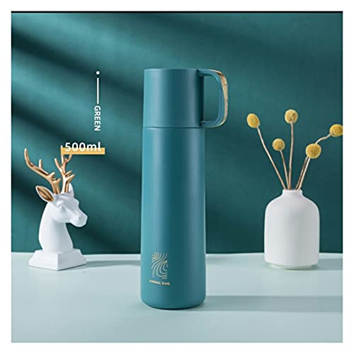 XYAN 500 ml Thermos Botella de Agua Caliente Diseño Simple Frasco de vacío 304 Curvo de Acero Inoxidable con Taza de Taza de Tapa Taza (Capacity : 500ml, Color : Verde)