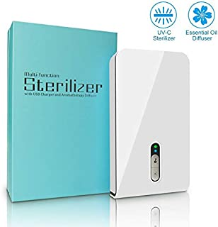 UV Phone Sanitizer, SOELAND Portable Smatrphone Sterilizer Cleaner Case with Aromatherapy Function, Multi-use Cellphone Disinfection for iPhone Android Mobile Phone Toothbrush Watches Jewelry-White