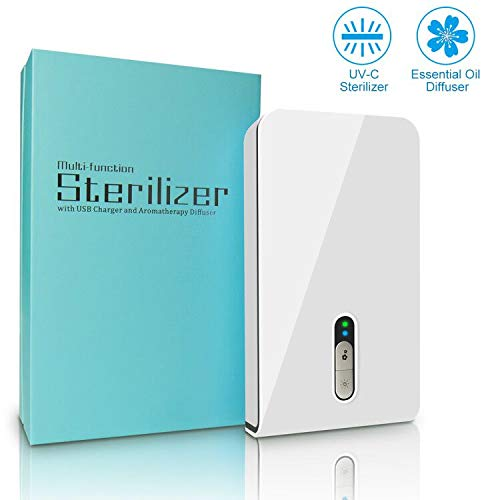 UV Smart Phone Sanitizer,Portable Cell Phone Sterilizer,Aromatherapy Function Disinfector, Phone Cleaner Box with USB Charging for iOS Android Mobile Phone Toothbrush Jewelry Watches-White