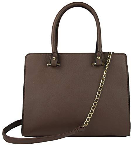 Schöne A4-Handtasche für Damen mit abnehmbarem Kettenriemen Modische Handtasche Stilvolle Handtasche 26x32x10 Schulter- oder Handtasche Ausgestattet mit einem Hauptfach(Braun)