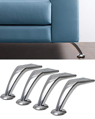 IPEA - 4 Patas para sofás, Muebles, armarios, sillones Modelo Cobalto - Juego de 4 Patas de Hierro - Diseño Especial Color Plateado Cromado, Altura 120 mm