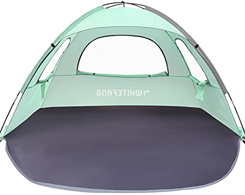 WhiteFang Beach Tent Anti-UV Portable Sun Shade Shelter for 3 Person, Extendable Floor with 3 Ventilating Mesh Windows Plus Carrying Bag, Stakes and Guy Lines (Mint Green)