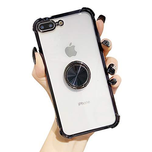 Suhctup Coque Compatible pour iPhone 7+ Plus/8+ Plus avec Support,Etui Case Transparent Silicone TPU Gel [Angles Renforcés] Antichoc Housse Cover avec 360° Support de Voiture Magnetique,Noir