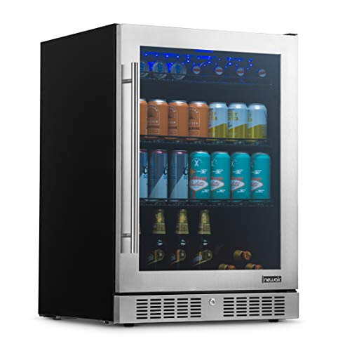 NewAir Large Beverage Refrigerator Cooler with 224 Can Capacity - Mini Bar Beer Fridge with LED Lights - Adjustable/ Removable Shelves And Bottom Key...