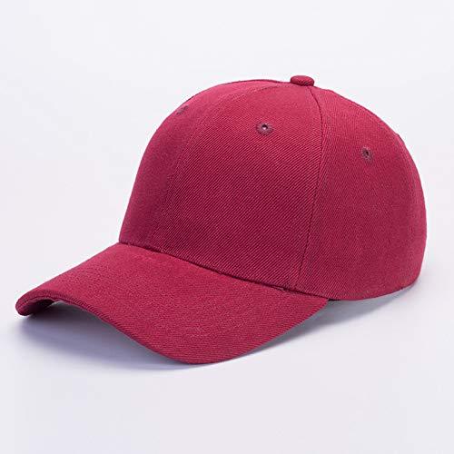 sdssup Sombrero de ala Plana Bordado Versión Coreana de la Gorra de béisbol Gorra Pescador Hip-Hop Hip-Hop Sombrero Rojo Vino M (56-58cm)