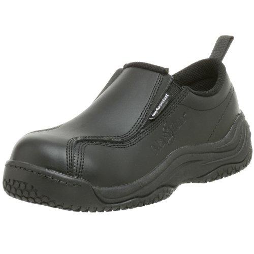 Nautilus Safety Footwear womens Slip Resistant Comp Toe No Exposed Metal Slip-On,Black,8.5 M/W