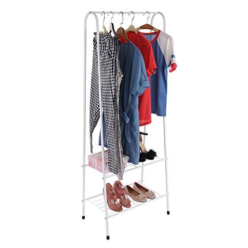 Coat Rack with Shoe Shelves, Coat Hat Rack Free Standing Clothes Stand with Storage Shelf for Entryway & Bedroom, Coat Racks, Metal Drying Rack for Coat,caps and Bag (60.2x35.8x151 cm)