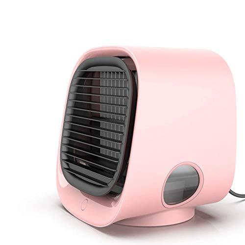 Ventilador de Aire Acondicionado PortáTil, Enfriador Personal, Ventilador Escritorio USB con 3 Velocidades, Nevera Evaporativo Hogar, Viajes Y Oficina, Humidificador, Carga, Silencioso,Rosado