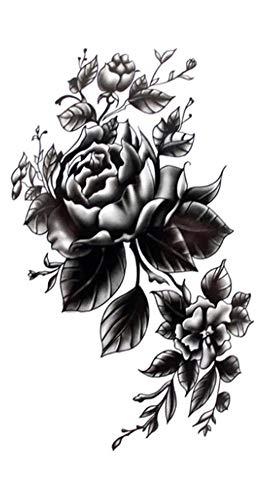 EROSPA® Tattoo-Bogen temporär / Sticker - Blumen / Schwarze Rose - Wasserfest