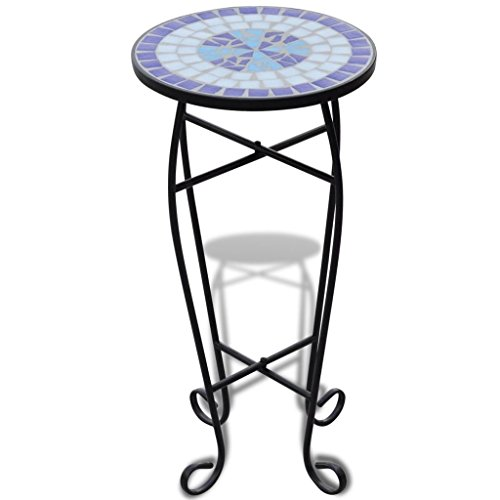 vidaXL Mosaic Side Table Blue White Outdoor Balcony Furniture Plant Stand