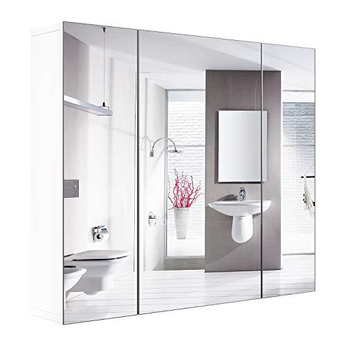 Homfa Spiegelschrank Wandspiegel Badezimmerspiegel Hängeschrank mit 3 Spiegeltüren Holz Weiß 70x15x60cm