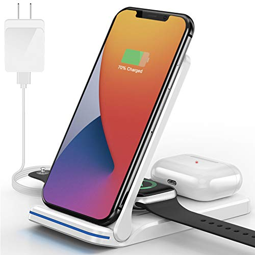 QTlier Wireless Charger, Foldable 3 in 1 Qi-Certified 15W Fast Charging Station for Air pods/Apple Watch se/6/5/4/3/2/1, Charging Stand for iPhone 12/11/11pro/X/XS/XR/Xs Max/8/8 Plus/Samsung (White)