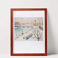 フレーム、モダンフォトフレーム額縁無垢材の壁ポスターフレーム写真サイズ28×35.5cmホワイトウッド