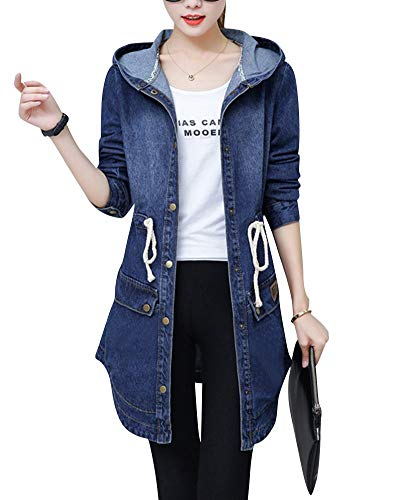 Chaqueta De Mezclilla para Mezclilla Abrigo Mujer De Modernas Casual Largo con Capucha Manga Larga Botón Chaqueta De Mezclilla Gabardina Outwear Moda 2020 Ropa De Mujer